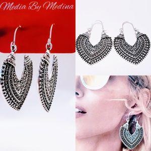 💞Boho Tibetan earrings, Silver💋